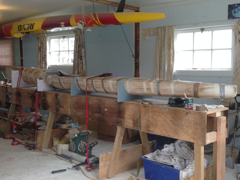 wooden surf skis